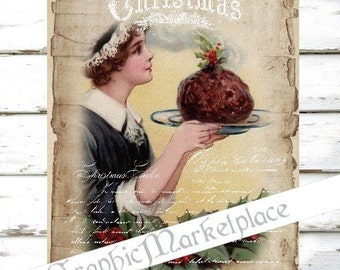 Christmas Cake Plum Pudding Large Image Instant Download Vintage Transfer Fabric digital collage sheet printable No. 1308