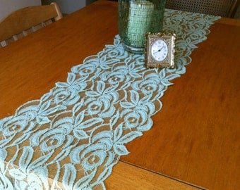 Mint Lace Table Runner 6'