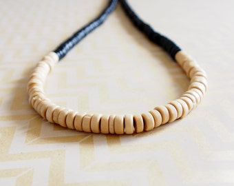 Black and cream wooden colour block rondelle bead necklace
