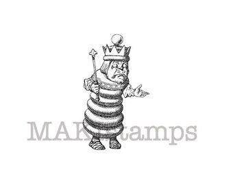 Alice in Wonderland Chess king  rubber stamp / Chess rubber stamp (140804)