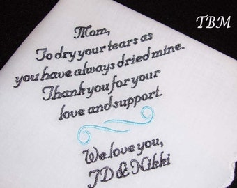 Personalized Mother of the Bride Handkerchief Wedding Day Keepsake - Thread Born Memories