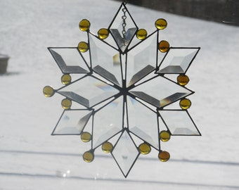 Large Stained Glass Beveled Snowflake