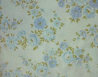 Beautiful blue flower vintage single bed flat sheet