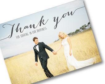Wedding Thank you postcard - Rustic - Custom Made to Order