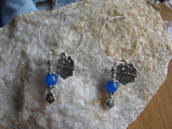 Beautiful Handmade Silver Hoop Earrings with Blue Jade, Roses & Dragonfly by IreneDesign2011