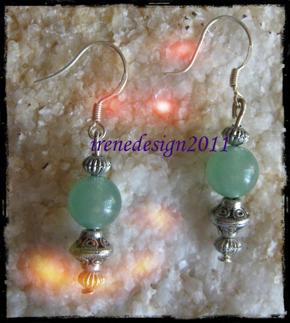 Handmade Silver hook Earrings with Green Aventurine by IreneDesign2011