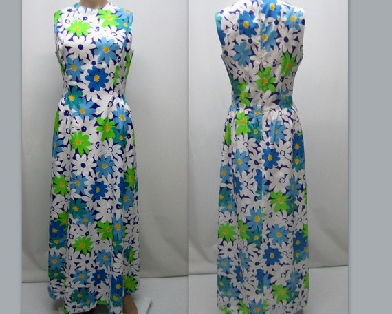 1960's TANNER of North Carolina Dress, Floral Maxi Dress, Tropical, Island Dress