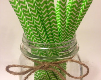 25 Citrus Green Chevron paper straws // baby bridal shower decorations/candy dessert buffet table / wedding / First birthday/ new year party