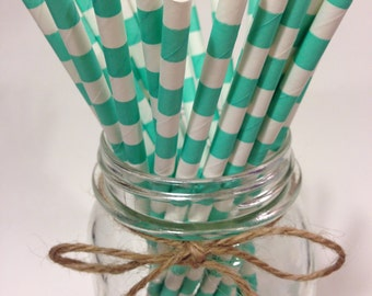25 blue Aqua Stripes paper straws // baby bridal shower decorations / candy dessert buffet table / wedding /First birthday/new year party