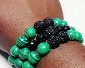 12mm Hedge Mazes Malachite Gemstone stackable bracelet