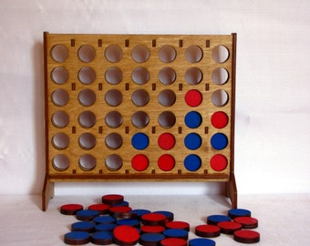 4-In-A-Row Desktop Game - Hand-Stained Baltic Birch