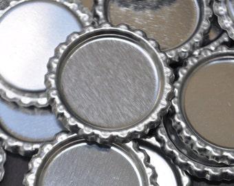 100 Flattened Bottle cap, NO Holes Bottlecap, Shiny silver, chrome bottle caps, silver bottlecaps, flat bottle caps, flat bottlecaps
