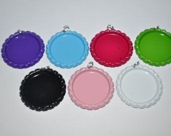 COMBO 50 Colored Bottle Cap Pendants AND 50 Glitter epoxies, You CHOOSE Colors, Flattened bottle caps with split rings attached, bottlecaps