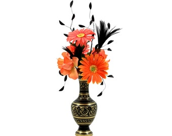 spring silk flower arrangement unique home decor artificial faux floral in vintage brass vase
