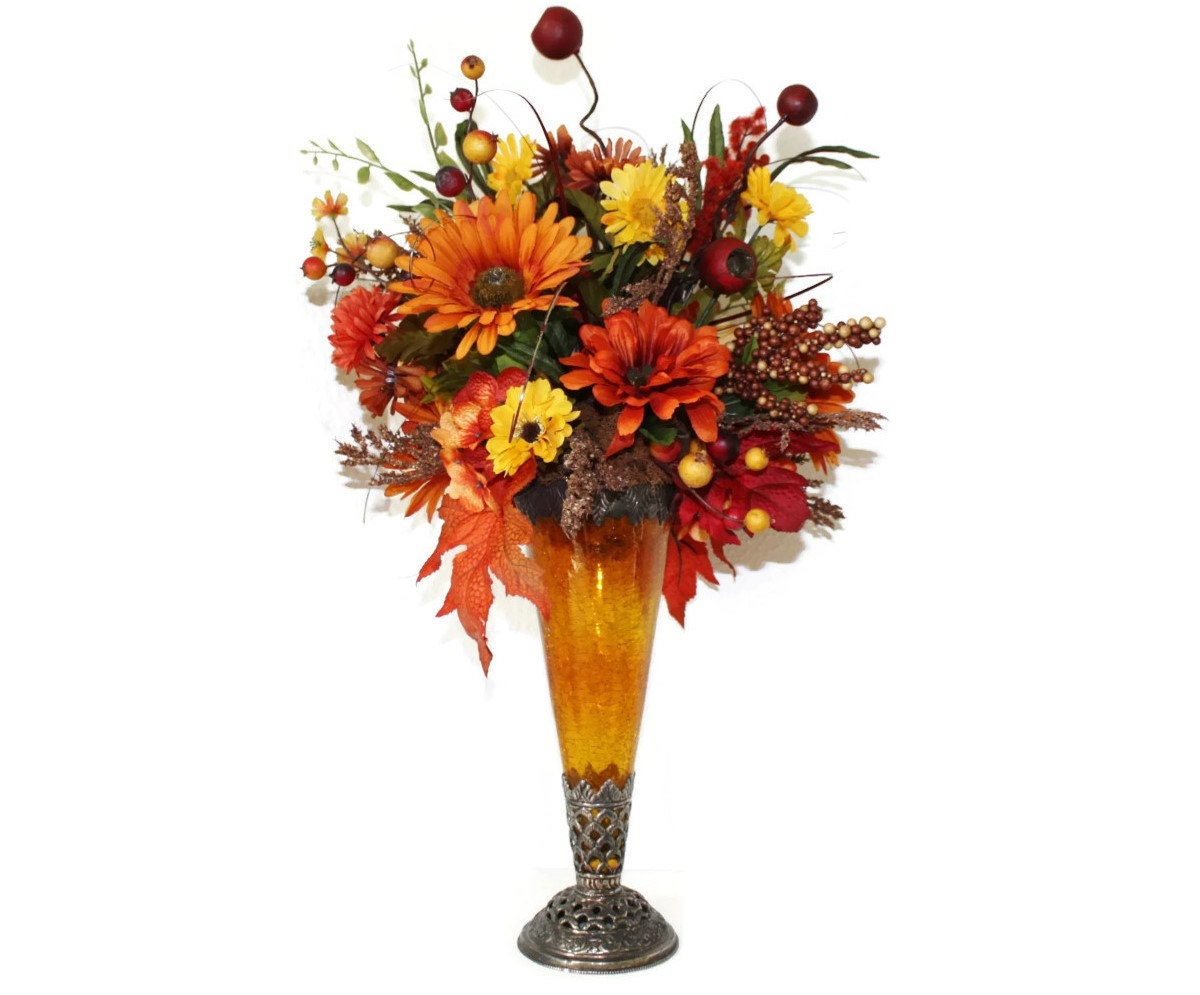 Large fall silk flower arrangement dining table centerpiece