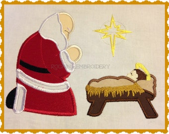 Santa Claus Kneeling at Baby Jesus Manger Embroidery Applique Design- INSTANT DOWNLOAD