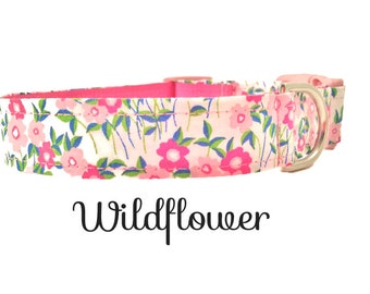 Dog Collar, Pink,Wildflower, Adjustable Sizes for extra small, small, medium, large and Extra Large dogs