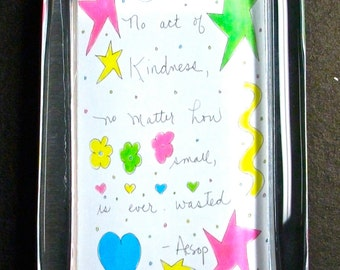 "Aesop Glass Paperweight Quote ""No act of kindness no matter how small is ever wasted""Inspiration & Motivation, Office/ Friendship Gift"