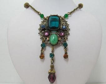1920s-30s Brass & Glass Necklace Item W-#456