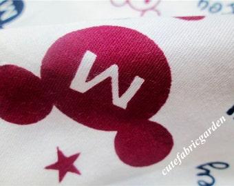 Cotton Fabric - 1Meter Mickey Mouse Fabric - Cartoon Fabric - Animals - Cute Kids Fabric - White( W160cm