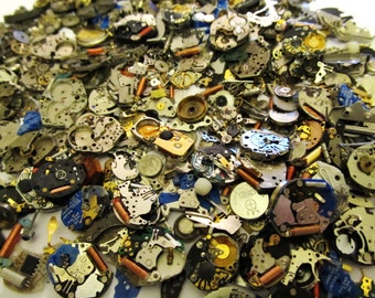 15 Grams SteamPunk Watch Parts, Gears, Movements, Plates, Wheels, Cogs, Crowns, Hands, Tiny Watch Parts, For Steampunk Art Gear, 3C103