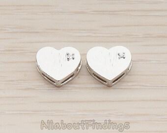 BDS031-R // Glossy Original Rhodium Plated Cubic Setting Heart Metal Bead, 2 Pc