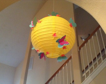 "8"" Banana Split, paper lantern, butterfly lantern, nursery lantern, butterfly party, butterfly birthday, hanging ceiling decor, room decor"