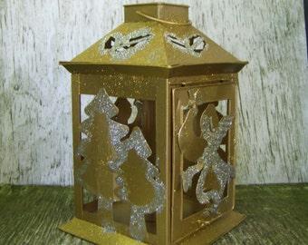 GOLD ANGEL CANDLEHOLDER Glitter Angel and Christmas Trees on Gold Metal Lantern Candleholder