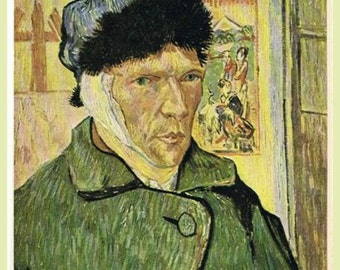 Vincent Van Gogh, Self Portrait, 1889, Bandaged Ear, antique art prints,  post impressionist art, canvas art print, fine art, antique art