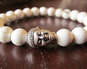 White Magnesite Buddha Bracelet for Women or Men, Natural Gemstone Bracelet, Beaded Bracelet, Stretch Bracelet, Yoga Jewelry, Yoga Bracelet