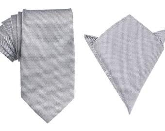 Matching Necktie + Pocket Square Combo Black and White Small Dots (X655-T85+PS) Men's Handkerchief + Neck Tie 8.5cm Ties Neckties Wedding