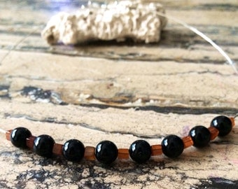 Sterling Silver Hessonite  Garnet and Black Tourmaline  Necklace.