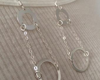 Sterling Silver Double Circle drop Earrings.