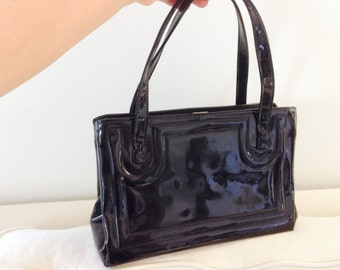 Vintage Black Patent Leather Purse Classic