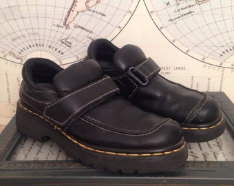 Vintage 90s Made in England Dr Martens Air Cushioned Soles Matte Black Velcro Loafers 7