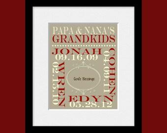 Personalized Grandparent Gift, Grandparents Gift, Grandchildren Names and Birthdate Print, Grandparents Anniversary Gift , Christmas Gift