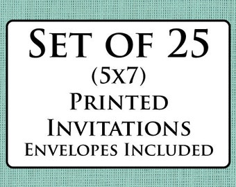 Set of 25 Printed Cards with Envelopes - Invitations