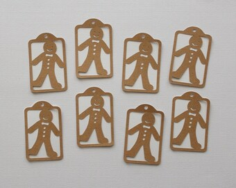 8 Gingerbread Men Gift Tags / Die Cut / Gift Giving / Christmas Gift Tags / Holiday Gift Tags / Card Making / Scrapbooking
