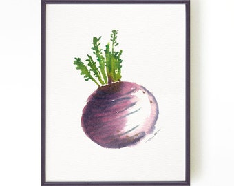 Kitchen art, Turnip watercolor print, Vegetable print Root, Botanical print Kitchen print Turnip, Purple wall decor, Buy 2 Get 1 Free