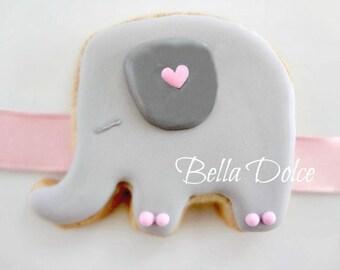 Sweetly Sleeping Pink and Grey Elephant Cookies - 1 Dozen (12) Baby Shower Favor - Birthday Gift