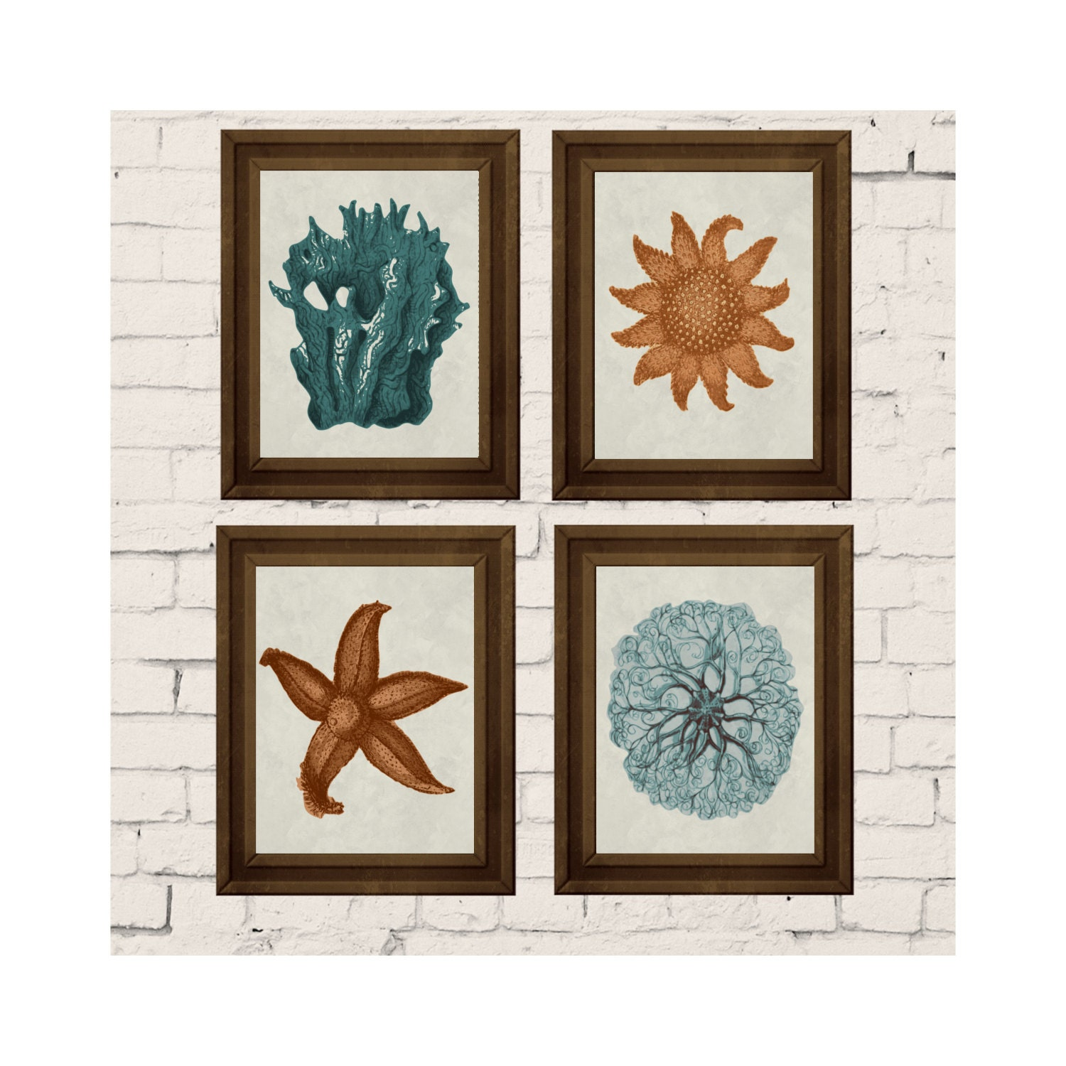 art print set 4 nautical wall decor teal coral by changingvases. Black Bedroom Furniture Sets. Home Design Ideas