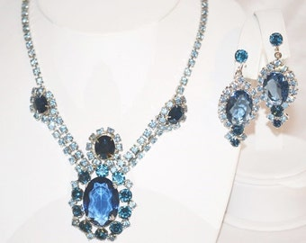 Vintage Haute Couture Runway Rhinestones Necklace and Earrings