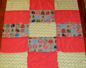 Explore The Great Outdoors  Baby Girl Rag Quilt