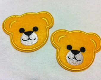 Lot Of 2 Pieces Yellow Cutie Bear (5.5 x 4.5) Embroidered Iron on Applique Patch (AL)