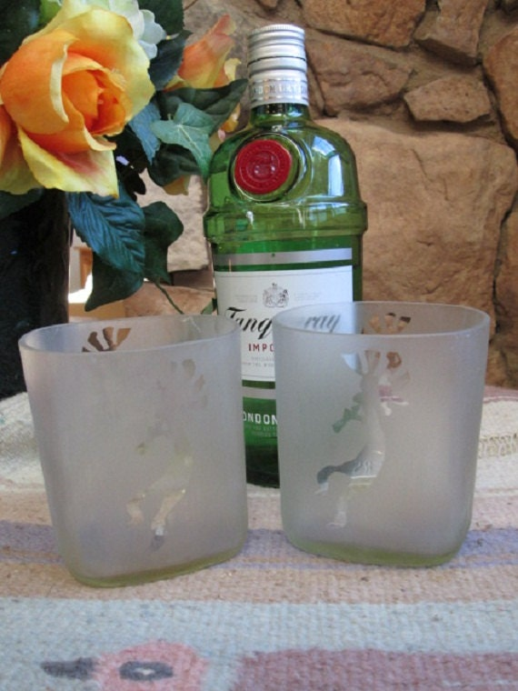Upcycled Square Bottom Frosted Clear Wine Bottle Rocks Glasses