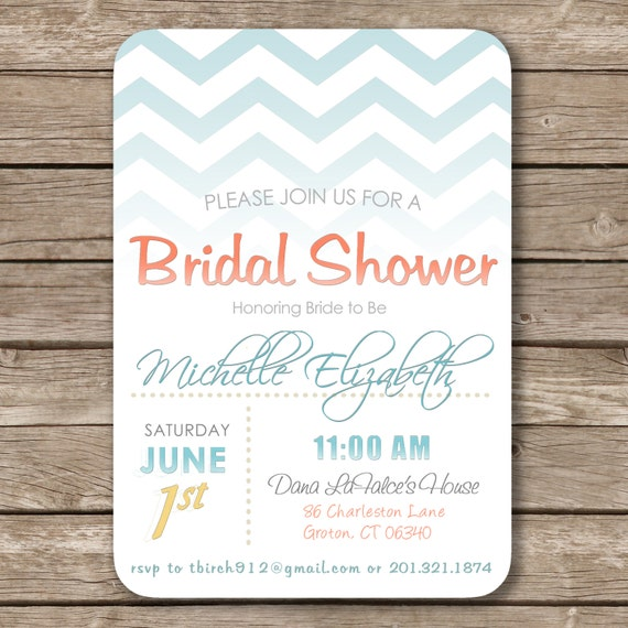 Unique Bridal Shower Invitations Beach Theme Chevron bridal shower
