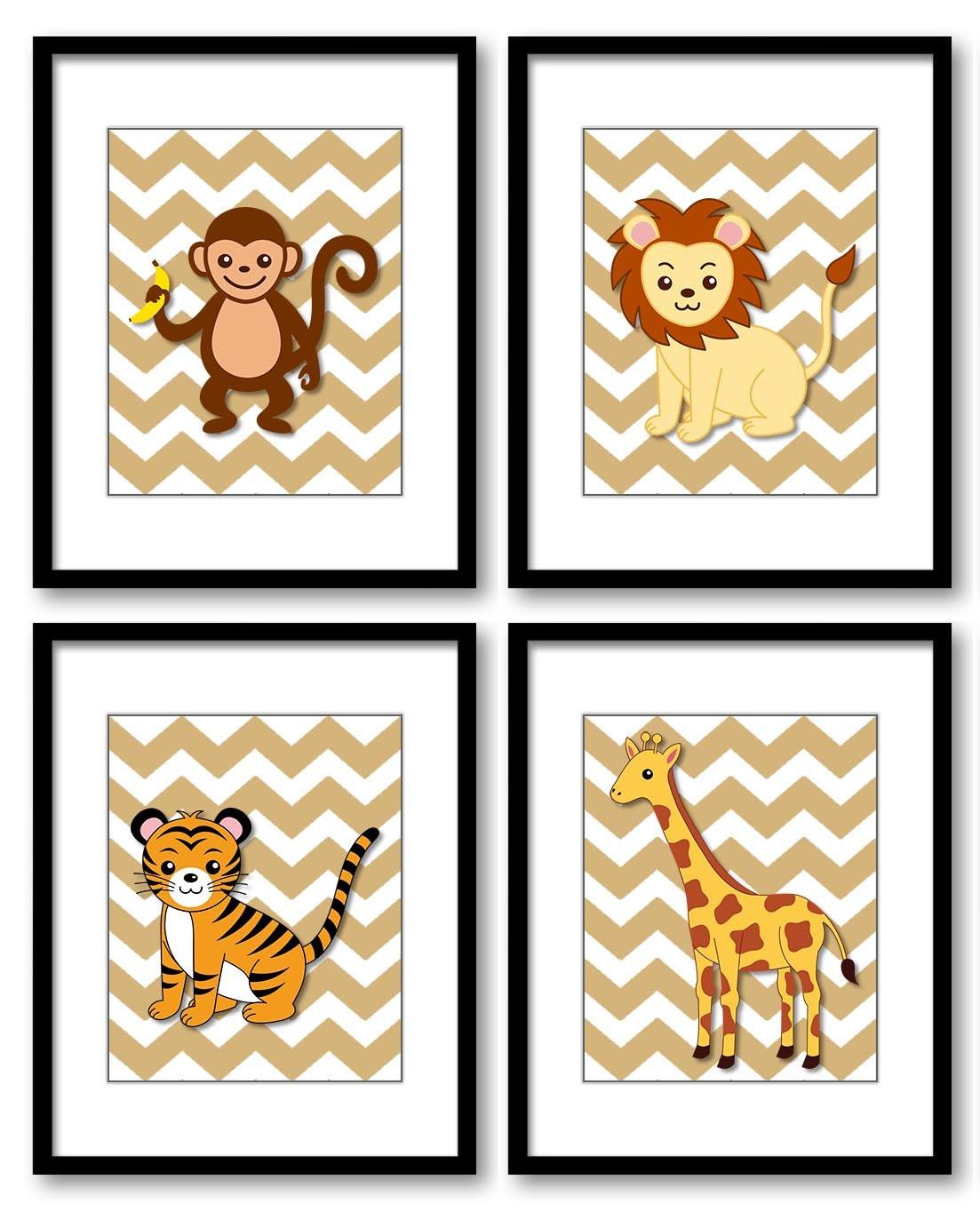 Africa Safari Jungle Animals Nursery Art Nursery Print Baby Beige Chevron Set of 4 Prints Giraffe Ti