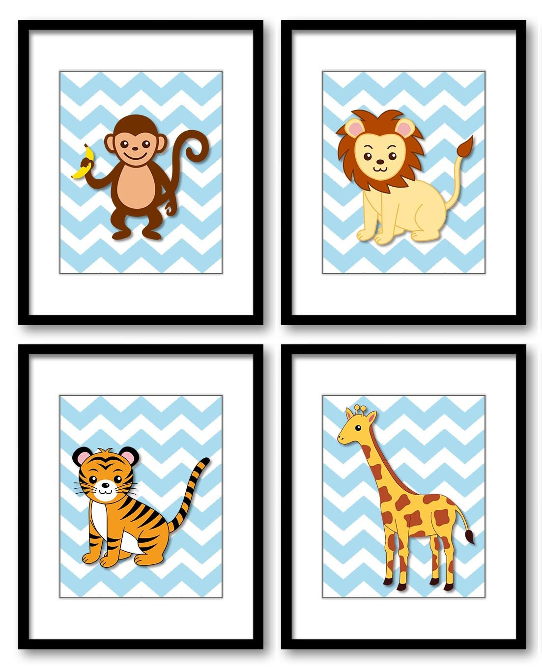 Africa Safari Jungle Animals Nursery Art Nursery Print Baby Blue Chevron Set of 4 Prints Giraffe Tig
