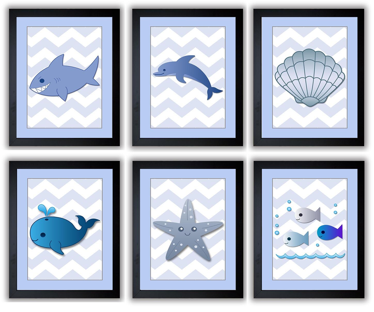 Blue Sea Animals Nursery Art Nursery Print Child Baby Art Prints Set of 6 Shark Dolphin Seashell Wha