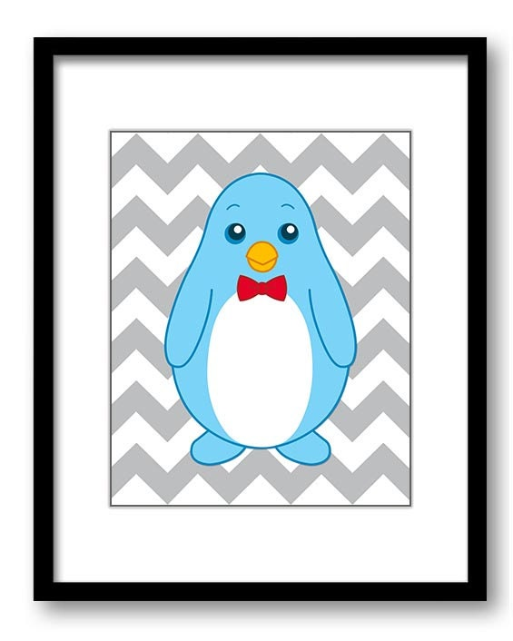 Boy Penguin Bow Tie Sailor Hat Art Nursery Art Nursery Print Child Baby Art Print Boys Kids Room Wal